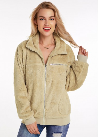Zipper Closure Turndown Collar Long Sleeve Fluffy Jacket - M