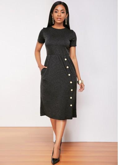 Decorative Button Pocket Short Sleeve Dress - 2XL