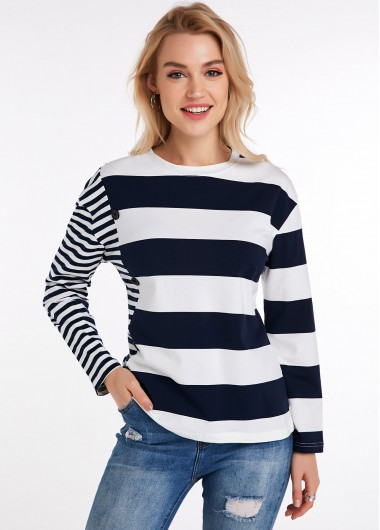 Striped Long Sleeve Round Neck T Shirt - L