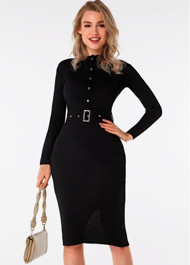 Long Sleeve Button Detail Belted Sweater Dress - M