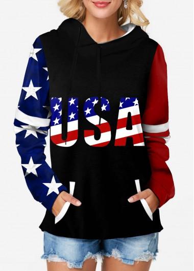 American Flag Print Long Sleeve Hoodie - L