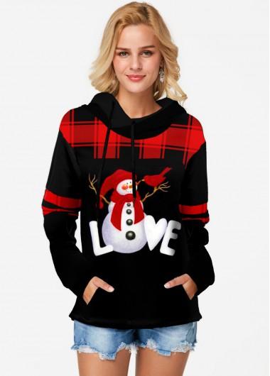Christmas Plaid Print Long Sleeve Tunic Top - L