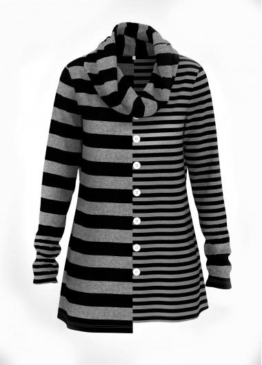 Striped Print Asymmetric Hem Button Detail Tunic Top - L