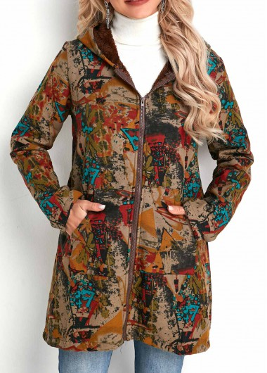 Tribal Print Zipper Closure Hooded Collar Coat - L