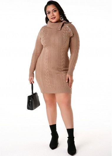 Plus Size Cable Knit Flap Collar Dress - 1X