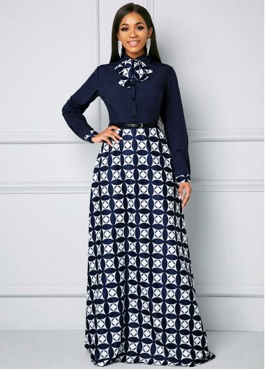 Geometric Print Bowknot Long Sleeve Maxi Dress - L