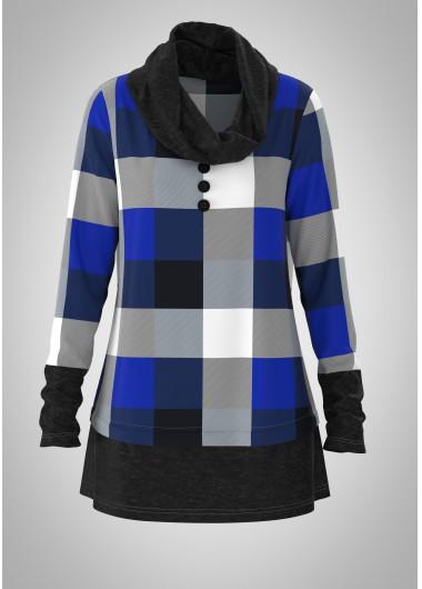 Plaid Cowl Neck Long Sleeve Tunic Top - L