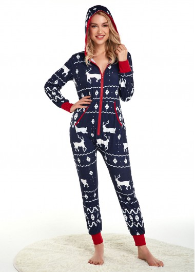 Christmas Print Long Sleeve Side Pocket Jumpsuit - L