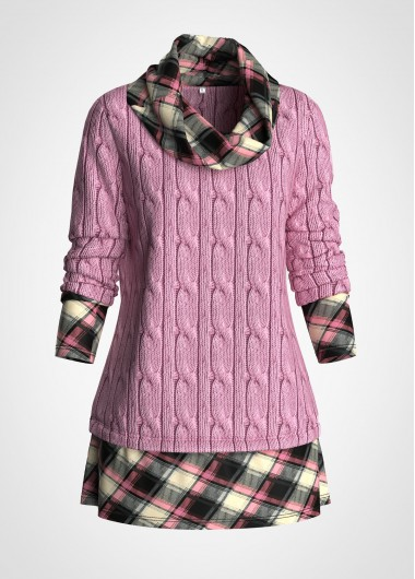 Plaid Print Cowl Neck Cable Knit Sweater - L