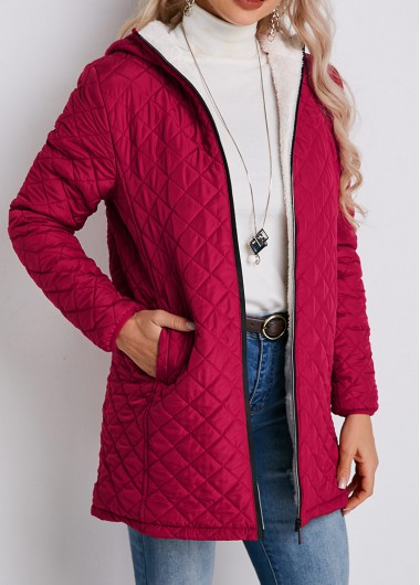 Zipper Closure Pocket Padded Quilted Cotton Coat - XL