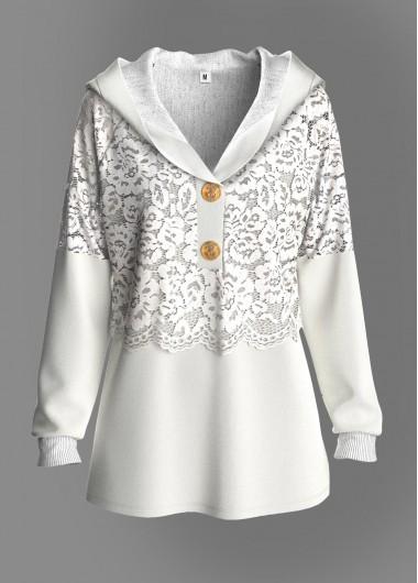 White Lace Panel Button Detail Tunic Top - L