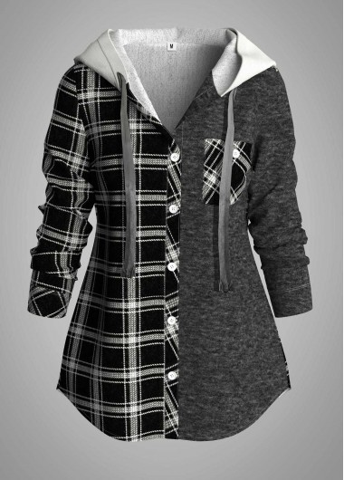 Plus Size Plaid Hooded Collar Button Up Tunic Top - 1X