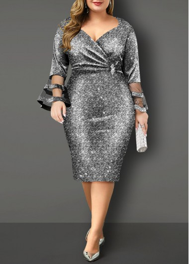 Flare Sleeve Hot Stamping Plus Size Dress - 1X