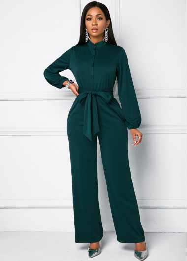 Belted Long Sleeve Button Front Jumpsuit - 2XL