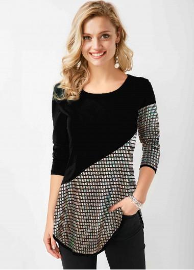 Sequin Panel Long Sleeve Black T Shirt - L