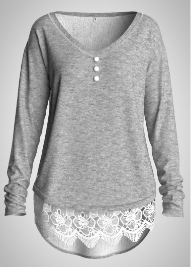 Lace Panel Button Detail Long Sleeve Tunic Top - L