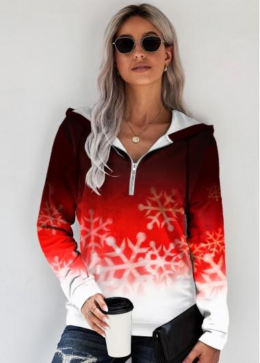 Ombre Snowflake Print Zipper Detail Hoodie - L