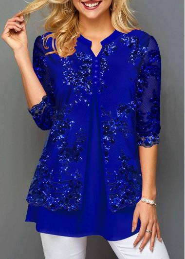 Sequin Lace Stitching Split Neck T Shirt - L