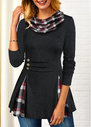 Plaid Cowl Neck Long Sleeve Button Pleated Shirt - L