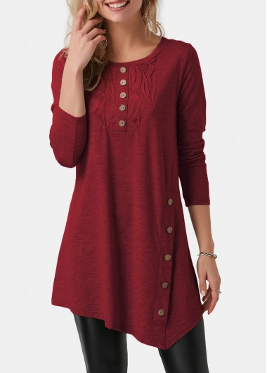 Asymmetric Hem Decorative Button Long Sleeve T Shirt - L
