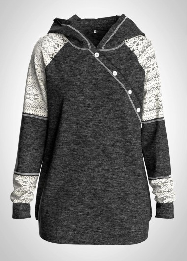 Lace Panel Button Detail Long Sleeve Hoodie - L
