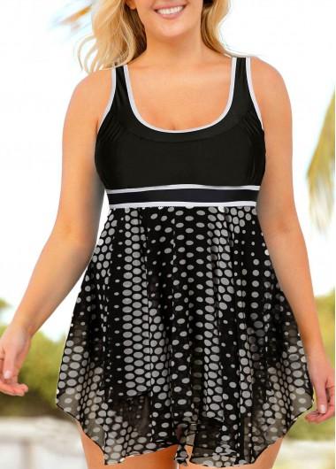 Plus Size Asymmetric Hem Polka Dot Swimdress and Shorts - 1X