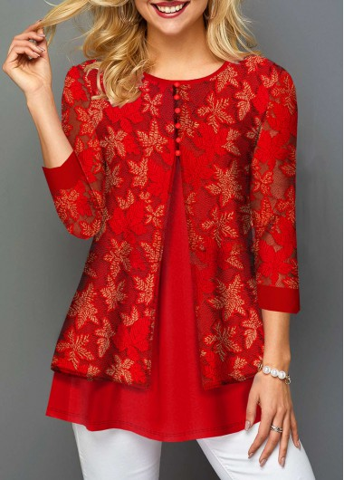 Lace Panel Embroidered Round Neck Layered T Shirt - L