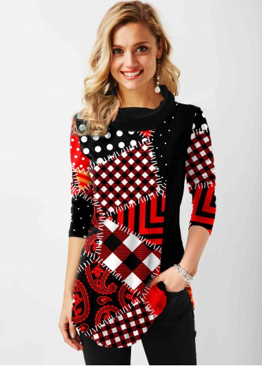 Geometric Pattern Cowl Neck Long Sleeve Tunic Top - L