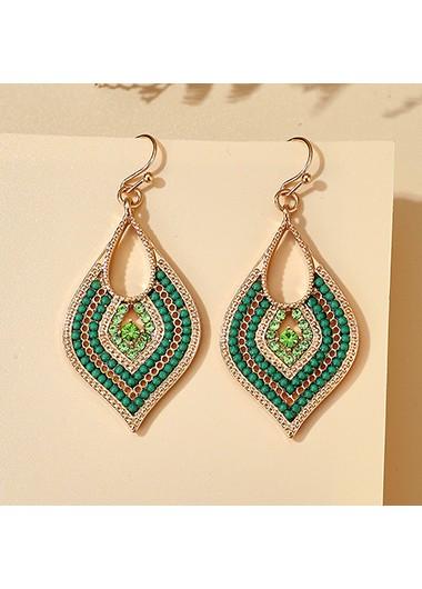 Rhinestone Detail Leaf Shape Green Earring Set - One Size