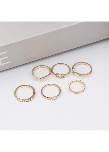 Rhinestone Detail Gold Metal Ring Set - One Size
