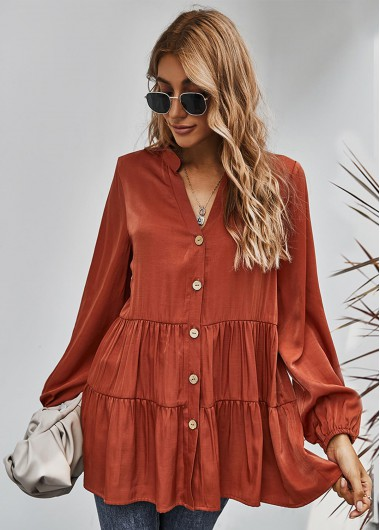 Button Up Pleated Long Sleeve Blouse - L
