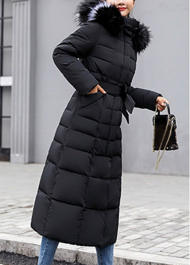 Belted Hooded Collar Faux Fur Padded Coat - L