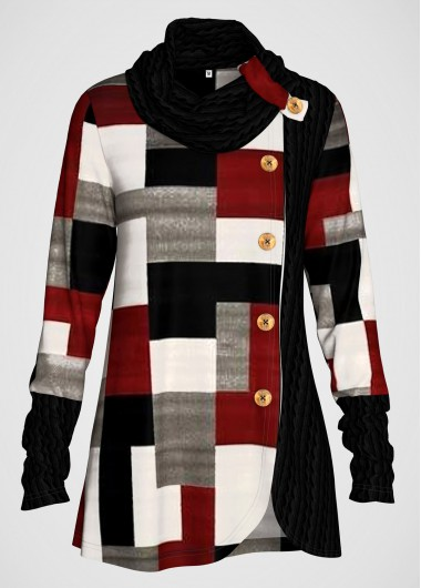 Platinum Red Charcoal Pattern Geometric Print Contrast Button Detail Tunic Top - L