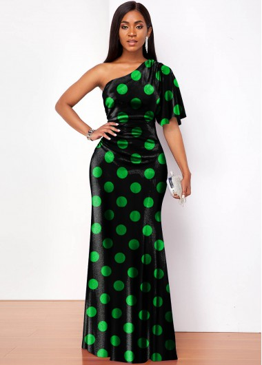 Polka Dot One Shoulder Velvet Maxi Dress - L