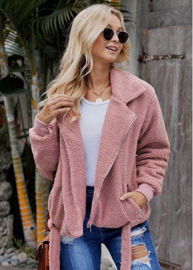 Belted Zipper Closure Turndown Collar Fluffy Jacket - M