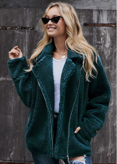 Turndown Collar Zipper Closure Pocket Fluffy Jacket - L