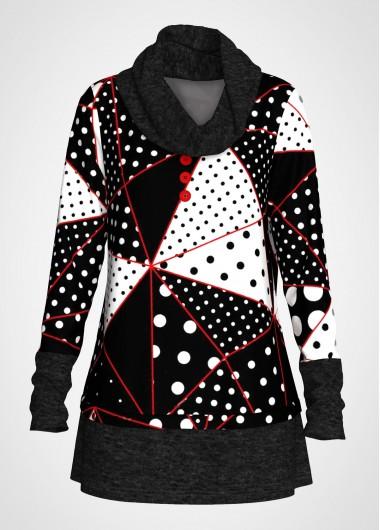Polka Dot Print Contrast Cowl Neck Tunic Top - L