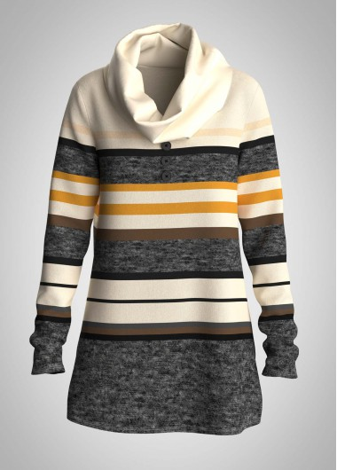 Striped Cowl Neck Long Sleeve Tunic Top - L
