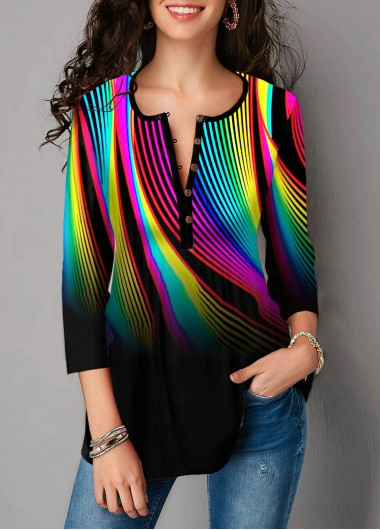 Rainbow Color Geometric Print Button Blouse - L