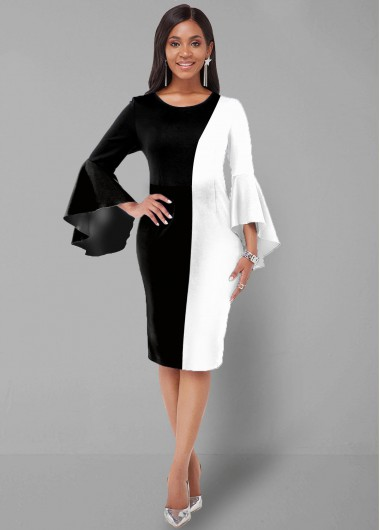 Color Block Round Neck Flare Sleeve Dress - L