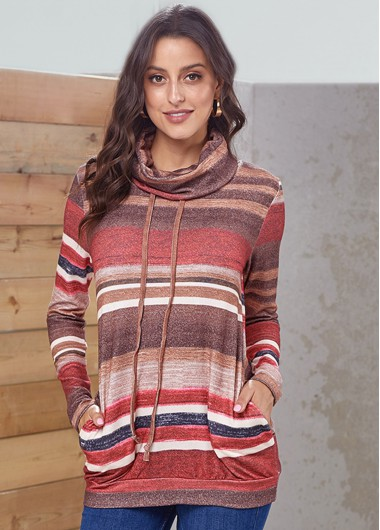 Drawstring Striped Long Sleeve Pocket Sweatshirt - 2XL