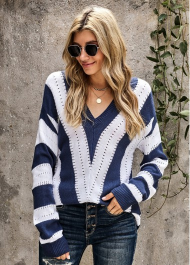 Long Sleeve Striped V Neck Sweater - 2XL