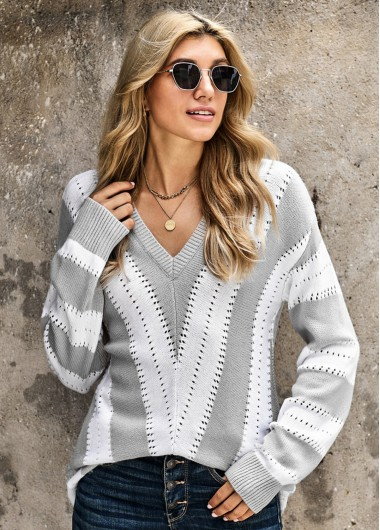 Striped V Neck Pointelle Trim Long Sleeve Sweater - L