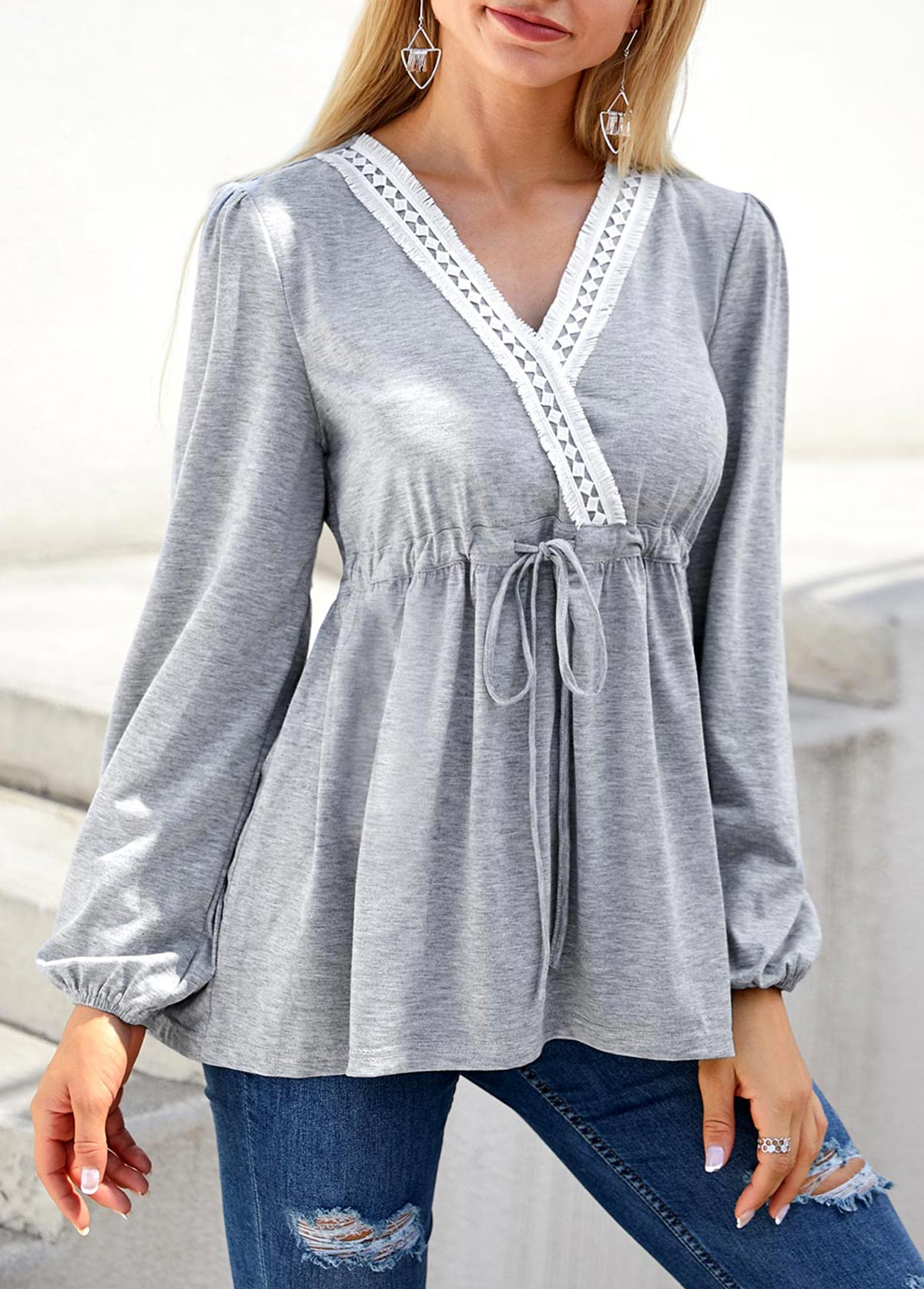 Lace Panel Drawstring Waist Long Sleeve T Shirt