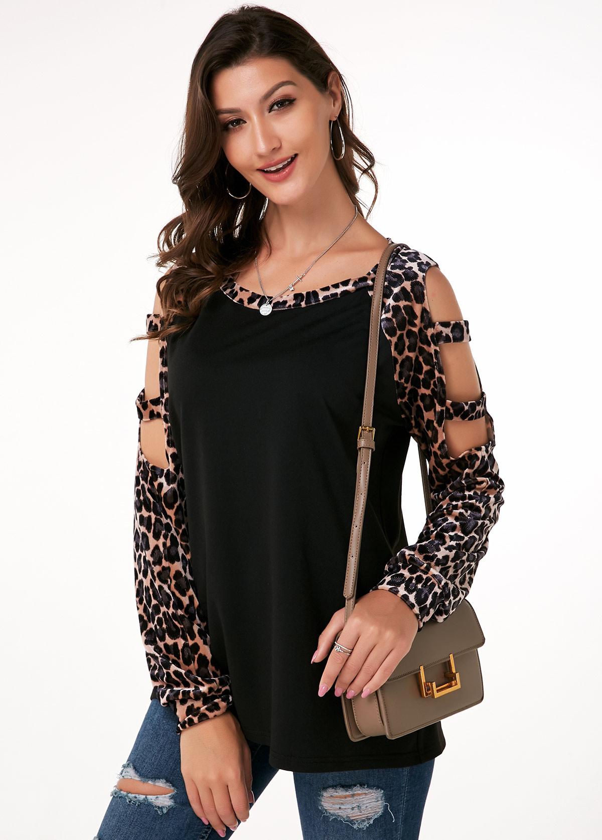Leopard Ladder Cutout Sleeve Velvet T Shirt