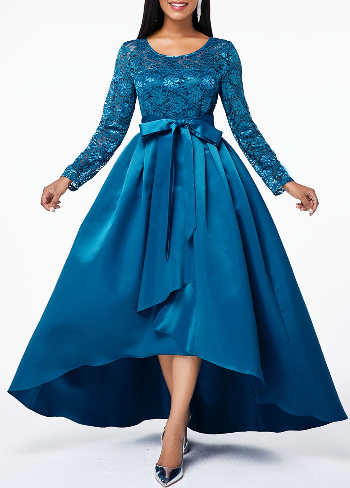 Bowknot Lace Panel High Low Dress