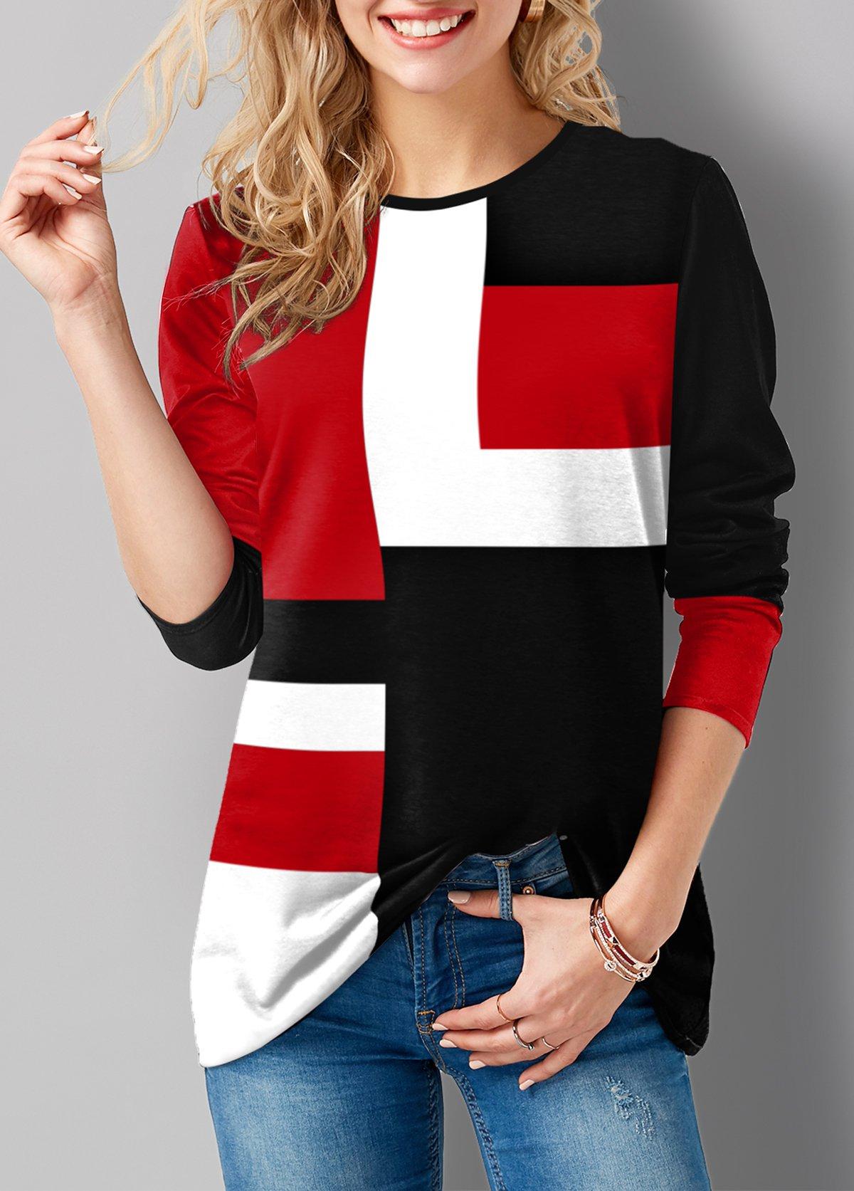 Geometric Print Round Neck Long Sleeve T Shirt