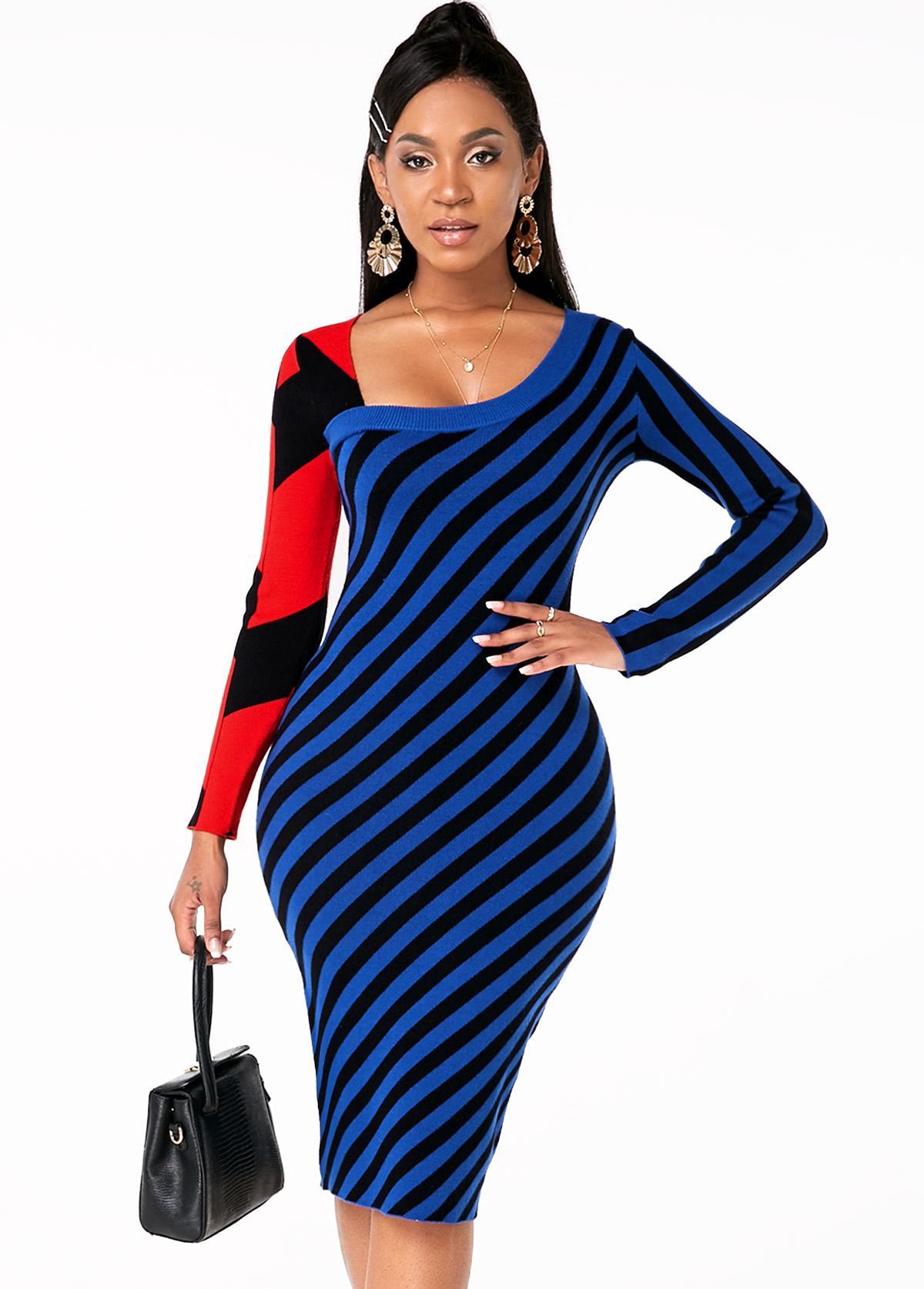Long Sleeve Striped Asymmetric Neck Sweater Dress