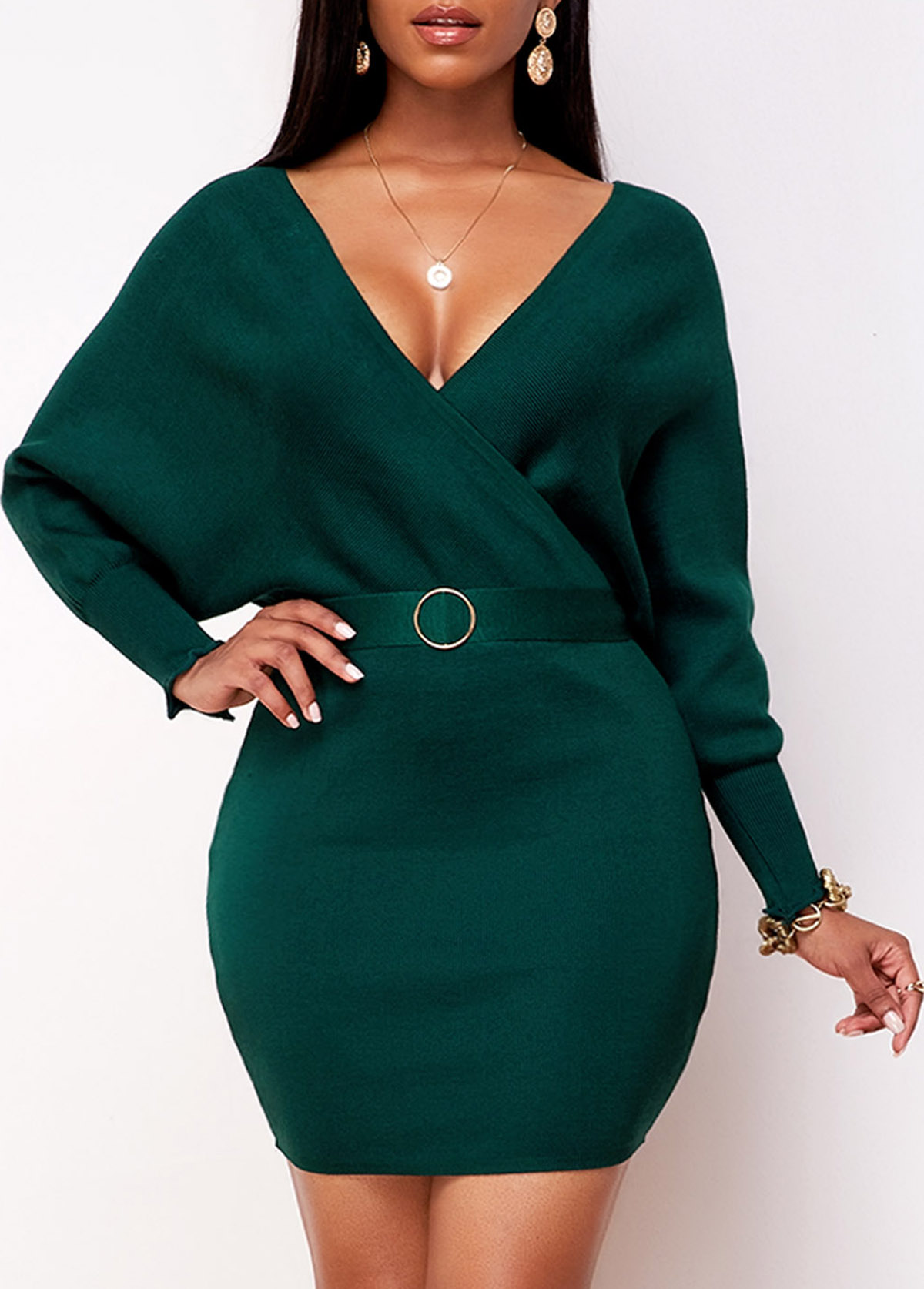 Belted Plunging Neck Knitted Wrap Dress
