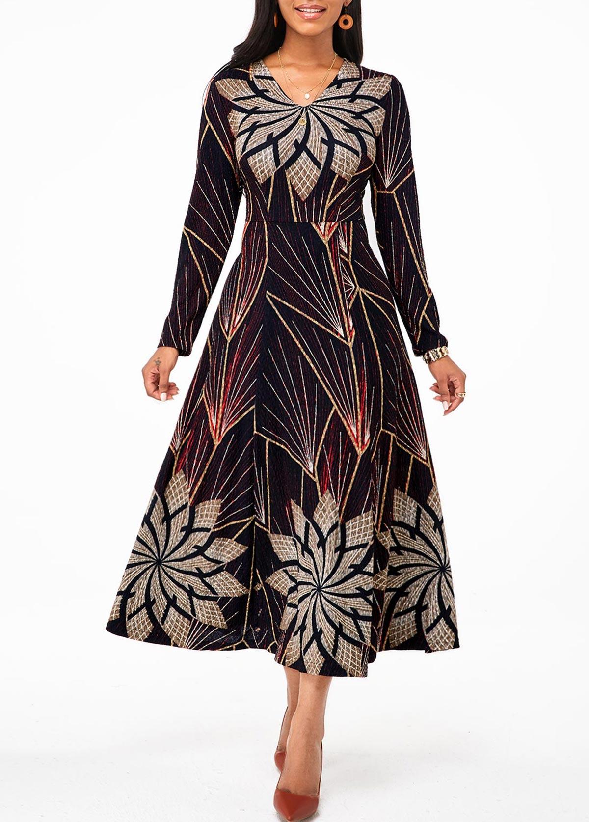Tribal Print Long Sleeve V Neck Dress